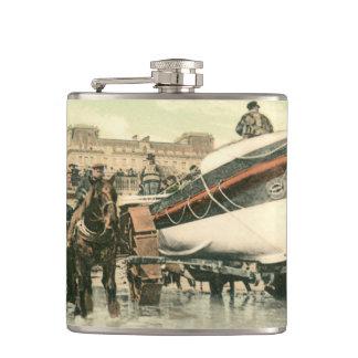 Lifeboat Launching, Bridlington (1900) Hip Flask