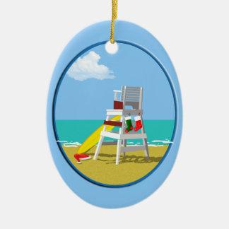 Lifeguard Chair at Christmas Ceramic Ornament