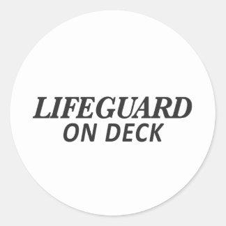 Lifeguard on Deck Print Classic Round Sticker