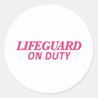 Lifeguard on Duty Print Pink Classic Round Sticker