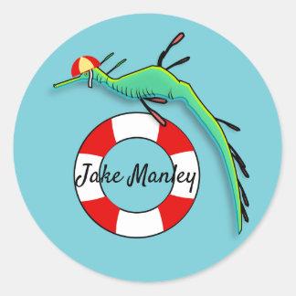 Lifeguard Sea Dragon Classic Round Sticker