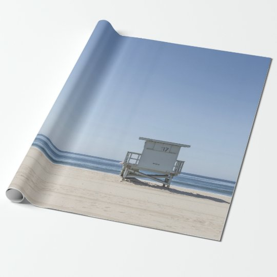 Lifeguard Station on a Beach Wrapping Paper