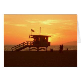 Lifeguard Station Sunset Greeting Card