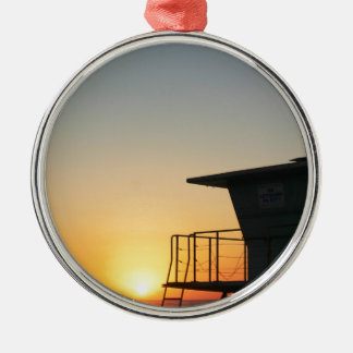Lifeguard Sunset Silver-Colored Round Decoration