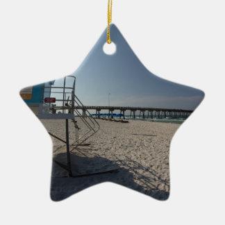 Lifeguard Tower at Panama City Beach Pier Ceramic Star Decoration