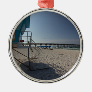 Lifeguard Tower at Panama City Beach Pier Silver-Colored Round Decoration