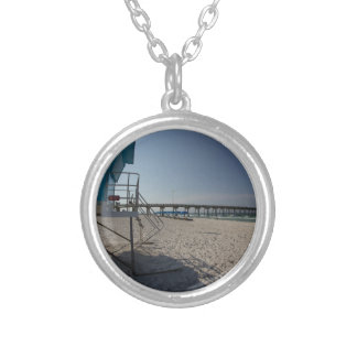 Lifeguard Tower at Panama City Beach Pier Silver Plated Necklace