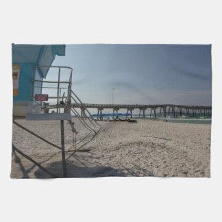 Lifeguard Tower at Panama City Beach Pier Tea Towel