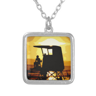 Lifeguard Tower at Sunset Square Pendant Necklace