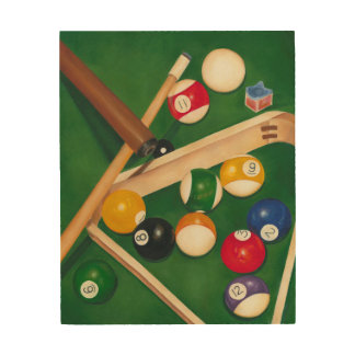 Lifelike Billiards Table with Balls and Chalk Wood Wall Art