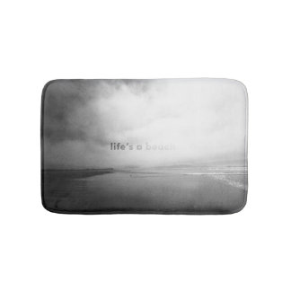 Life's a Beach - Black and White Typographic Photo Bath Mat