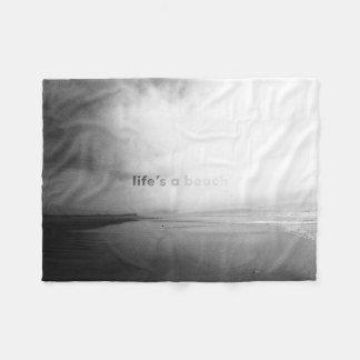 Life's a Beach - Black and White Typographic Photo Fleece Blanket