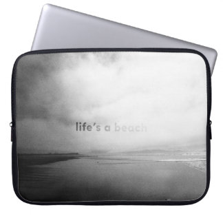 Life's a Beach - Black and White Typographic Photo Laptop Sleeve