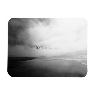 Life's a Beach - Black and White Typographic Photo Magnet