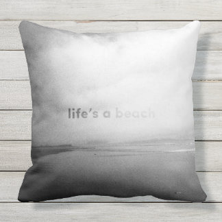 Life's a Beach - Black and White Typographic Photo Throw Pillow