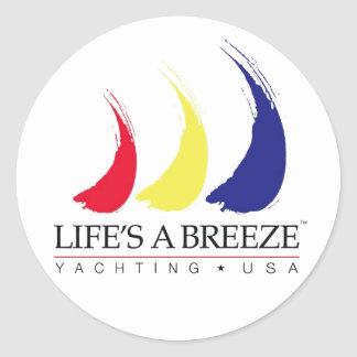 Life's a Breeze®_Paint-The-Wind_Yachting USA Classic Round Sticker