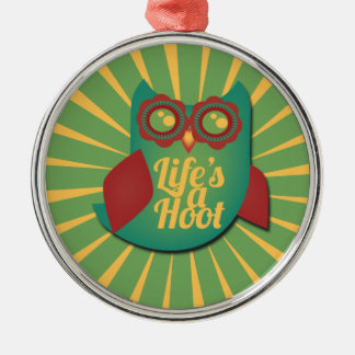 Life's a Hoot owl Silver-Colored Round Decoration