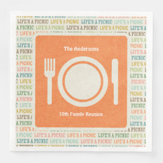 Life's A Picnic Orange Paper Napkins