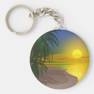 Life's a Sunny Beach Basic Round Button Key Ring