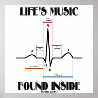 Life's Music Found Inside (ECG/EKG Heartbeat) Poster