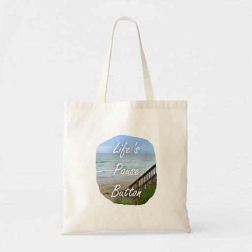 Lifes Pause Button beach ocean florida image Bags