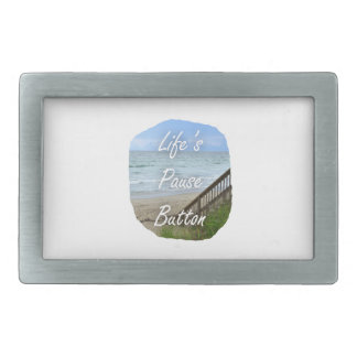 Lifes Pause Button beach ocean florida image Rectangular Belt Buckle