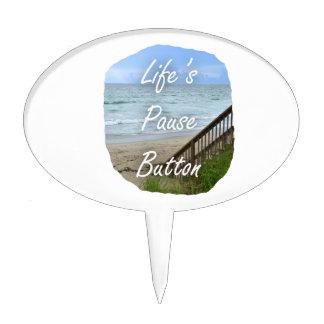 Lifes Pause Button beach ocean florida image Cake Pick