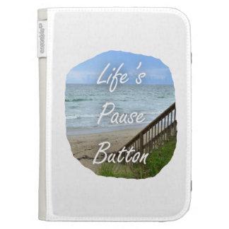 Lifes Pause Button beach ocean florida image Case For Kindle