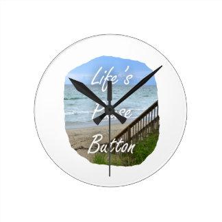 Lifes Pause Button beach ocean florida image Round Clocks