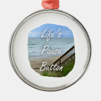 Lifes Pause Button beach ocean florida image Christmas Ornaments
