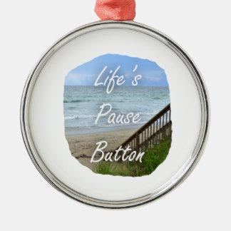 Lifes Pause Button beach ocean florida image Christmas Ornaments