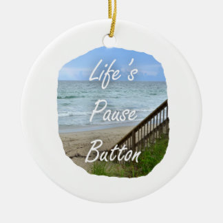 Lifes Pause Button beach ocean florida image Ornament
