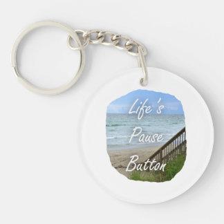 Lifes Pause Button beach ocean florida image Acrylic Key Chains