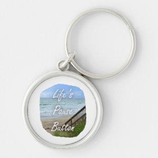 Lifes Pause Button beach ocean florida image Key Chains