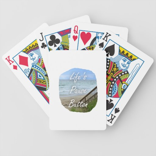Lifes Pause Button beach ocean florida image Poker Cards