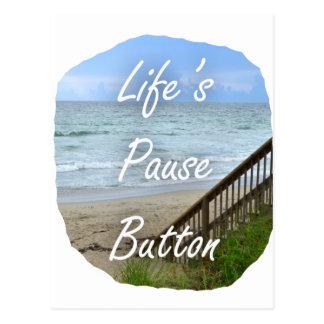 Lifes Pause Button beach ocean florida image Post Cards