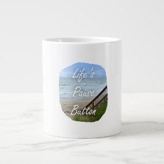 Lifes Pause Button beach ocean florida image Jumbo Mugs