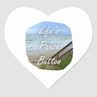 Lifes Pause Button beach ocean florida image Heart Sticker