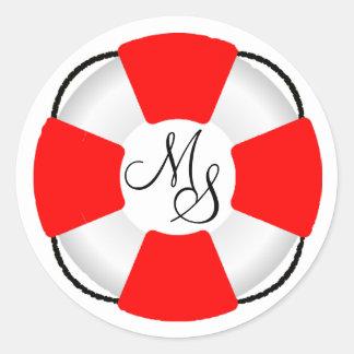 Lifesaver-Nautical Monongram Round Sticker