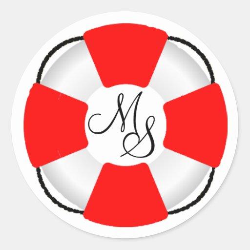 Lifesaver-Nautical Monongram Stickers