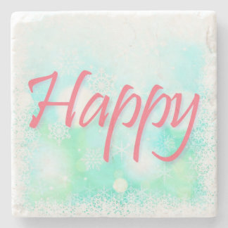Lifetime Mantra: Happy Healthy Wise Wealthy Stone Coaster