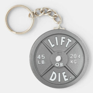 "Lift Or Die 45 lb Plate on 2.25"" Keychain. Basic Round Button Key Ring"