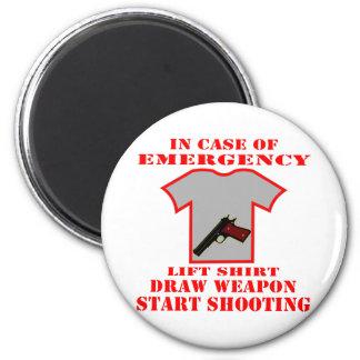 Lift Shirt Draw Weapon Start Shooting 6 Cm Round Magnet
