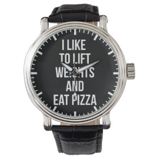 Lift Weights and Eat Pizza - Carbs - Funny Novelty Watch