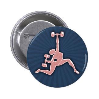 Lifting Lady 6 Cm Round Badge