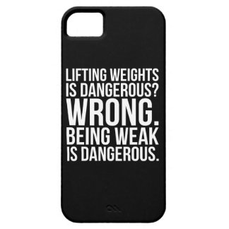 Lifting Weights Is Dangerous vs Being Weak - Gym Barely There iPhone 5 Case