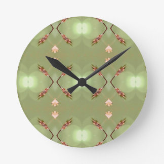 Light Airy Peach Lime Artistic Pattern Round Clock