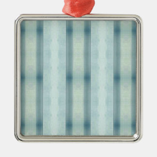Light Airy Soft pastel Teal Striped Pattern Metal Ornament