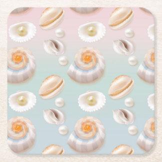 Light Aloha SeaShell Sea Shell Pearl Pattern Square Paper Coaster