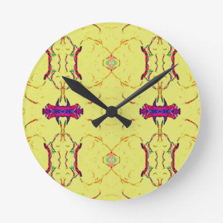 Light and Airy Modern Yellow Pattern. Round Clock